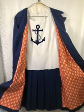 Vintage 60s MISS CONTINENTAL NED GOULD Sleeveless Anchor Dress W/ Jacket