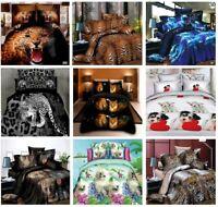4 Piece Duvet Quilt Cover Bedding Set Latest Designs Cats,Wolves,Leopard Printed