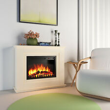 Luxury 2KW Electric Fireplace Suite LED Log Fire Burning Flame + MDF Surround