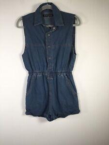 Ziggy Denim womens blue sleeveless playsuit romper size M cotton good condition