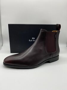 Paul Smith Men's Burgundy Smooth Leather Gerald Chelsea Boots