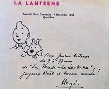 TINTIN * RARE DOCUMENT D'ARCHIVE DEDICACE HERGE IMPRIMEE * VOEUX DECEMBRE 1961