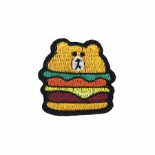 Bear Burger (Iron On) Embroidery Applique Patch Sew Iron Badge