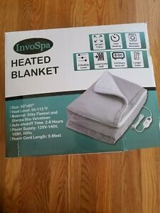 InvoSpa Electric Throw Heated Blanket - 50 x 60 Silky Flannel and Sherpa
