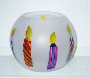 Teleflora Frosted Glass with Hand Painted Candles Vase Bowl Celebrate Birthday