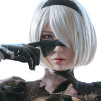 Anime Cartoon Characters Yorha 2B Silver Short Straight Wig Cosplay Party 4H_F