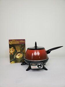 Oster Electric Fondue Vintage Red Tested Works Pot Cookbook Burner