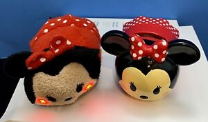 Disney FAB NY Minnie Mouse Stackable Bank w/Matching Light Up Tsum Tsum Plush