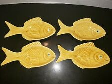 4 Casa Pupo Portugal mustard fish Serving Dishes. Spoon rest Glazed Stamped