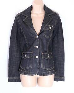 Women's Vintage CECIL Stretch Fitted Black Denim Jean Blazer Jacket UK12 UK14
