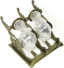 Antique Vintage Glass Double Tilting Snail Winged Inkwell Victorian Era