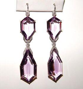 """Heavy 73.37CT Amethyst 0.41CT Diamond Chandelier Earrings 80MM(3.15"""") 14K gold"""