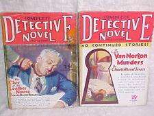 2 Complete Detective Novel Magazines. 1929 - 1930