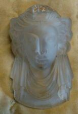 Vintage frosted glass match holder, elegant woman