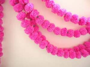 Lot of 10 Pc Indian Artificial Marigold Home décor Pink Garland 5 Feet Long