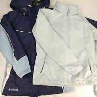 Lot 2 Women's Medium Columbia Jackets Warm Winter Ski Coat Fall Spring Blue Zip