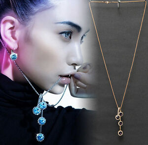 """Austrian Round Crystal 33"""" Inch Chain Necklace Pendant Circle Earrings Jewellery"""