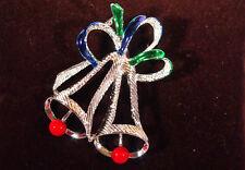 """Vintage GERRYS Silver Tone & Enamel Christmas Ribbons & Bells 2"""" Pin Brooch"""