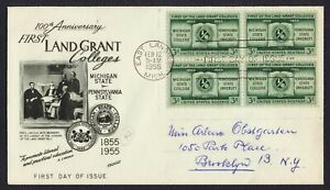 #1065 3c Land Grant Colleges-Block of 4, Fleetwood FDC ANY 5=