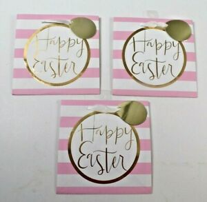 Gift Bags Happy Easter Lot of 3 Pink and White Striped 8 x 8 x 6 Ribbon and Tag