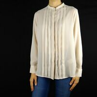 Uniqlo Sheer Cream Pleated Front Button Up Long Sleeve Blouse Top Womens Small S