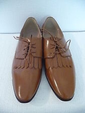 NEW J.CREW LEATHER OXFORDS WITH FRINGE, F4979, SIZE 10.5, WARM SEPIA, $228