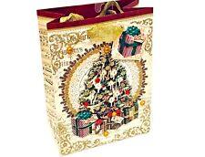 Punch Studio 3D Glitter & Jewel Embellished Old World Tree Gift Bag Small