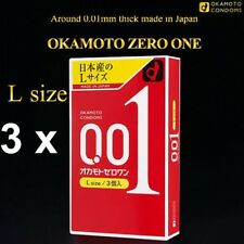 3 x OKAMOTO 001 Japanese Original Package 0.01mm Condoms LARGE Size (9 pieces)