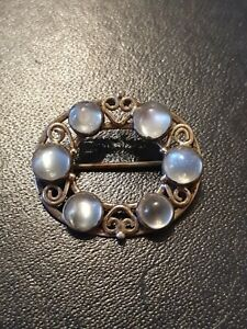 Antique Arts And Crafts Beautiful Moonstone And Silver Brooch 4.8grams