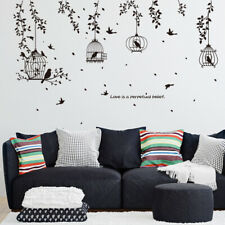 Nusery Wall Stickers Huge Birdcage Leaf Silhouette Removable Self-Adhesive Mural