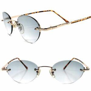 Classic True Vintage 60s 70s Mens Womens Tortoise & Gold Rimless Oval Sunglasses
