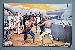 Postcard: Boxing on HMS Forecastle, Gale & Polden, Navy WW1 Interest
