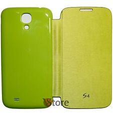 Custodia Cover Flip Per Samsung Galaxy S4 I9500 Verde Copri batteria + Pellicola