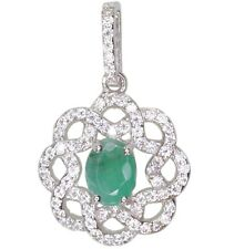 Emerald Gemstone Oval Flower Sterling Silver Pendant + Chain
