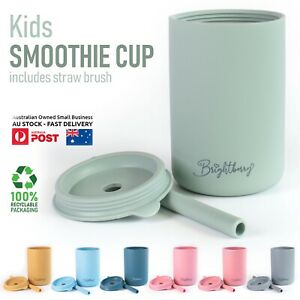 Baby Toddler Training Cup with Lid & Straw, Smoothie Cup for Kids, Silicone Cup