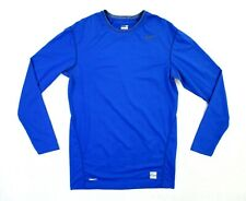 Nike Pro Mens Size Xl Blue Long Sleeve Tight Fit Shirt Stretch Crew Neck