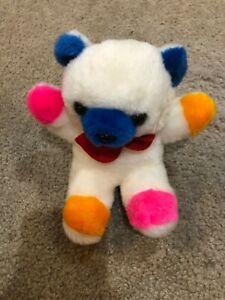 """Vintage Cloud 9 Primary Colored Plush Toy 9"""" Teddy Bear Red Bow Tie"""