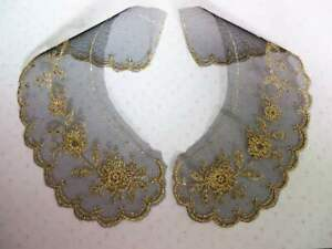 Top quality embroidered lace collars black net with gold metallic yarn 1 pair