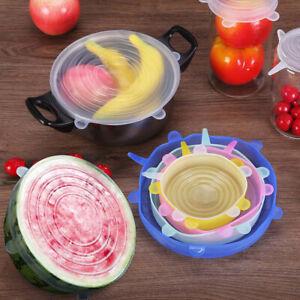 Food CoverSilicone UniversalCap6 Pcs Set Lids for Cookware Bowl Reusable