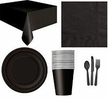 18cm Black Party Plates Pack of 20