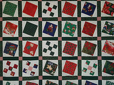 Unfinished Quilt Top-Christmas Prints Square in a Square, approx 61 x 79