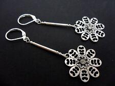 A Pair Tibetan Silver Dangly Flower Leverback Hook Earrings. New.
