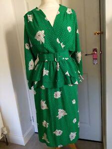 Gorgeous Vintage 80s Hamells Green Floral Peplum Tea Dress Size 12