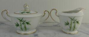 Vintage Toki Kaisha Green Bamboo Porcelain Creamer and Sugar Bowl 1538G