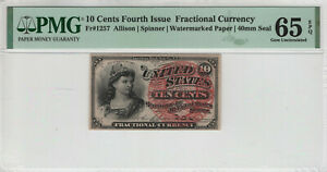 10 CENT FOURTH ISSUE FR.1257 POSTAL FRACTIONAL CURRENCY PMG GEM UNC 65 EPQ
