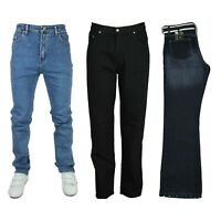 Sergio SGM17 Mens Jeans Regular Fit Straight Leg Denim Pants Trouser Free Belt