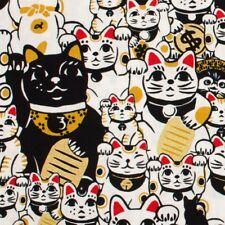 Japanese oriental gold Neko Lucky Cat fabric cotton fat quarter FQ F0073