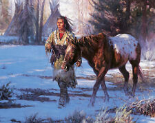 "Decor Quality Art Canvas Print, Oil Painting Indians морозное Morning16""x20"""