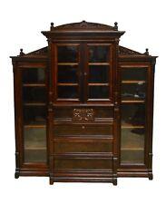 Antique Victorian Walnut Bookcase w. Desk