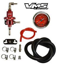 VMS RACING ADJUSTABLE FUEL PRESSURE REGULATOR GAUGE KIT RED MITSUBISHI ECLIPSE
